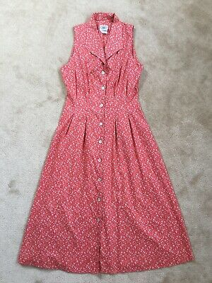 LAURA ASHLEY Vintage  Pink/White Floral Fit & Flare Midi Prairie Dress size UK10
