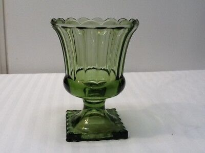 Vintage Green Glass Square Footed Candy Dish with Fluted Edge