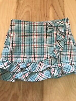 JANIE AND JACK Girls Blue Plaid Wool Skirt Size 5