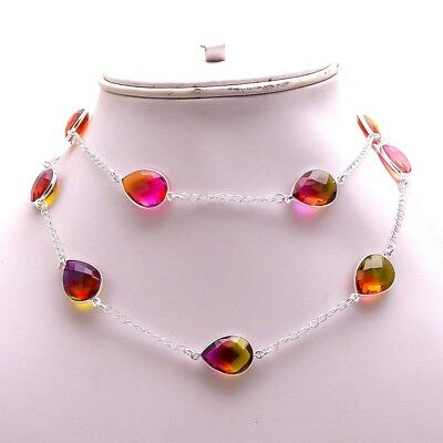 Loving .925 Silver Plated Faceted Multi Tourmaline NeckChain Festival Gift R1854