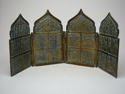Antique 19th Century Russian Brass Skladen or Icon Tetraptych