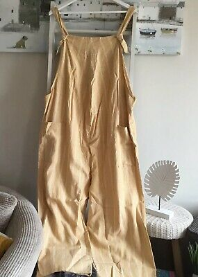 New Look Sz 18 Bnwt Mustard Ochre Wide Leg Cropped Jumpsuit Relaxed
