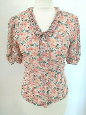 Vintage Laura Ashley Floral Blouse UK 10 Pink Sheer Ruffle Shirt Made in UK