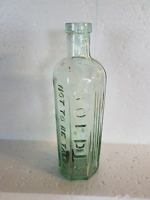 """Scarce Aqua Glass Hex Poison Bottle With """"Soldis """" Not To Be Taken Embossing"""