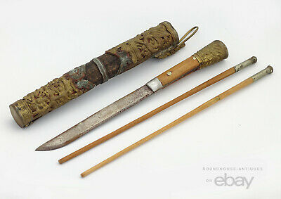 19th C. Antique Chinese Qing Dynasty Trousse Traveling Utensil Chopstick Knife