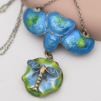 Vtg Antique Art Nouveau Sterling Silver Enamel Dragonfly Pendant Necklace