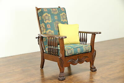 Oak Antique 1900 Morris Recliner Chair, Lion Paws, New Upholstery #31044