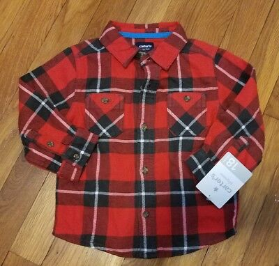 Carters Baby Boy Size 18 Months Red Plaid Look Button Down Long Sleeve S