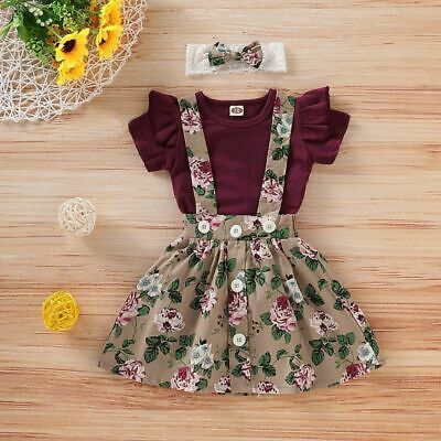 3PC Infant Babys Girls Newborn Outfits Overalls Floral Short Sleeve Skirt Romper