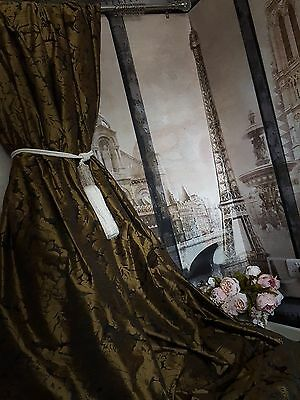 """NEW!Sublime Huge French Damask Antiqued Gold 115""""D 104""""W Lined Long Bay Curtains"""