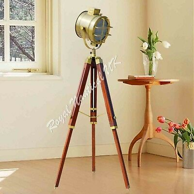 Nautical Wooden Tripod LED Lighting Floor Lamp Vintage Antique Style Home Decor