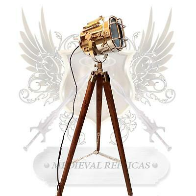 USED Vintage LED Floor Lamp Spotlight Theater Nautical Theme Tripod Light Stage.