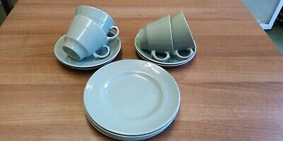 Wood's Ware Beryl 4 small tea cups, saucers, side plates WW2/ utility ware.