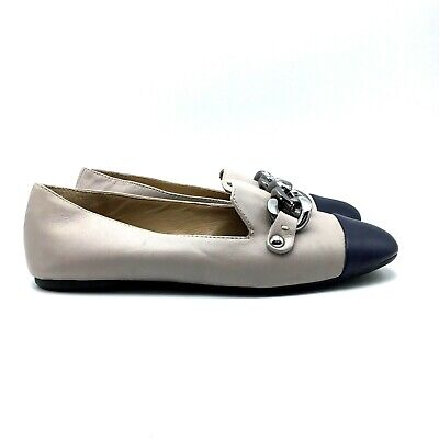 Enzo Angiolini Lona Light Gray Chain Bit Loafers Womens Size 6 US - NWOB