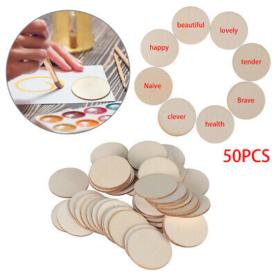 50PC Wooden Wood Base Disk Circle Pieces Painting Craft Cardmaking Scrapbooking
