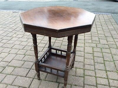 vintage 8 Sided Geometric Gallery Tier Wooden end side table On Ceramic Casters