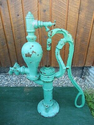 RARE ANTIQUE Cast Iron Hand LARGE WATER PUMP with MAPLE LEAF