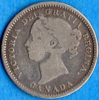 Canada 1881 H 10 Cents Ten Cent Silver Coin - Very Good (cleaned)