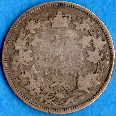 Canada 1870 25 Cents Twenty Five Cent Silver Coin - Good