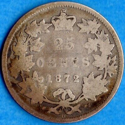 Canada 1872 H 25 Cents Twenty Five Cent Silver Coin - Circulated