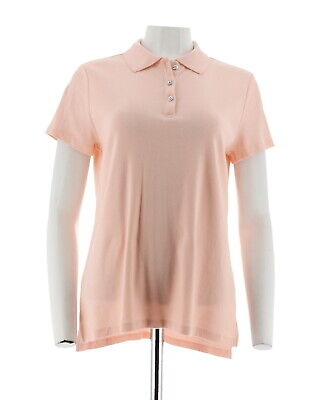 H Halston Short Sleeves Rib Polo Hi-Low Hem Side Slits Pure Pink L # A289365