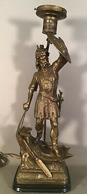 LG antique Norse Viking Style Medieval Warrior Sword and Shield Statue Lamp