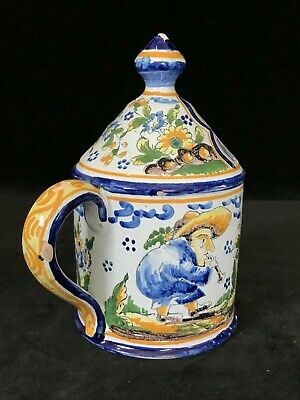 MONTAGNON Lantern & Candleholder Antique French Faience Nevers Art Pottery c1890