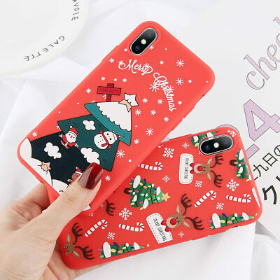 For iPhone X XR XS Max Merry Christmas Print Silicone Case Slim Soft Thin Cover