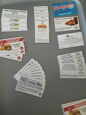 Wendys Mcdonalds Burger King Taco Bell arby's applebees 4 free food gift cards