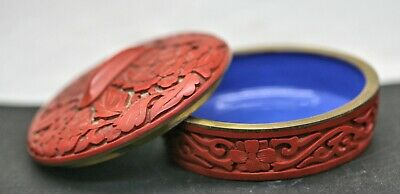 Superb Quality Vintage Chinese Brass Cinnabar Lidded Trinket Box