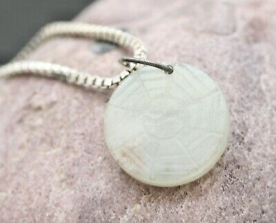 Antique Chinese Hetian White Jade Pendant Circa 1800s w/Sterling Silver Necklace