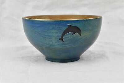 """Ray Koeneman Wood Turned Blue Decorative Bowl """"Popular Stained Dolphins"""" Signed"""