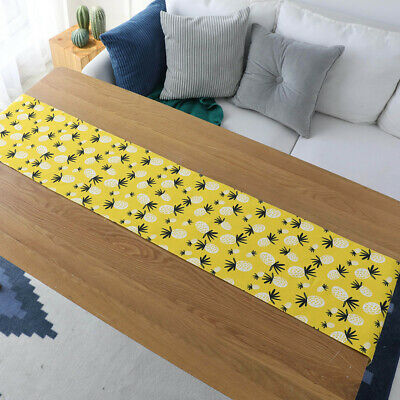 Cute Pineapple Printed Table Runner For Dining Coffee Cotton Linen Table Cover