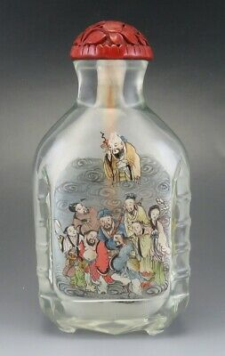 Superb late 1800s/early 1900s Chinese Hand Painted Snuff Bottle w Cinnabar Lid