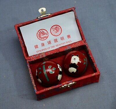Vintage Chinese Baoding Meditation Oriental Health Exercise Stress Chime Balls