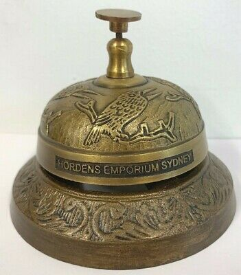 New - Hordens Emporium Sydney Brass Finish Kookaburra Embossed Shop Counter Bell