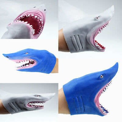 Stretchy Shark Hand Puppet - 2 Color Soft Glove Fish Head Swim Baby Water Horror