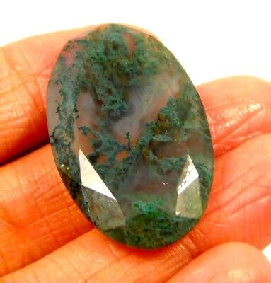 100% Natural Faceted Moss Agate Cut Loose Gemstones 26 CT 30X17mm..NG18483