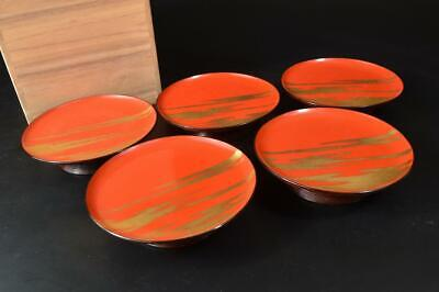 U756: Japanese Wooden Lacquer ware SERVING PLATE/dish 5pcs, w/signed box