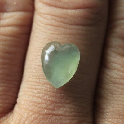 4.5ct Certified Natural JADE (A) Beautiful Untreated Icy Jadeite Heart Cabochon
