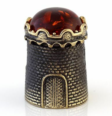 Medieval Castle Tower Brass Bronze Thimble Baltic Amber Top Russian Souvenir 1""