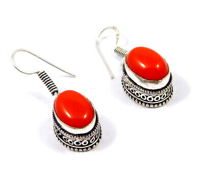 Coral .925 Silver Plated Hand Carving Earring Jewelry JC9169