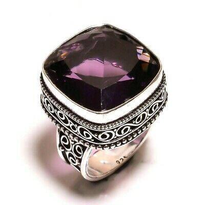 Charming Amethyst Quartz Silver Carving Jewelry Ring Size 9.25 JA687