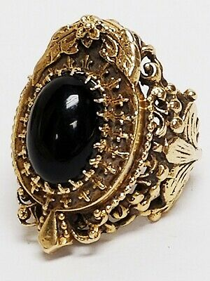 Large Heavy Antique 14K Gold Ornate Victorian Onyx Cab Ring Size 6 ~ 15.52 grams