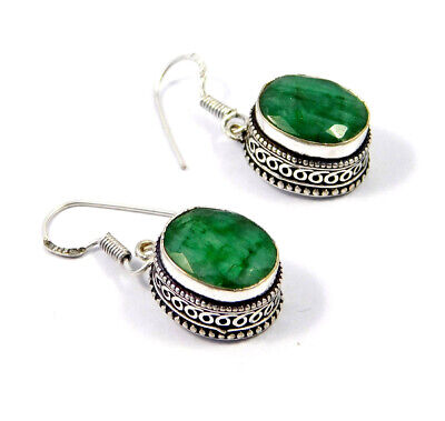 Dyed Emerald .925 Silver Plated Hand Carving Earring Jewelry JC9174