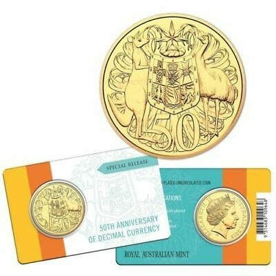 AUSTRALIAN 2016 ROUND 50 CENTS 50th ANNIVERSARY DECIMAL CURRENCY GOLD PLATED UNC