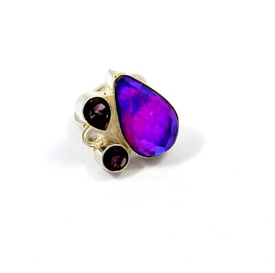 Mystic Topaz Quartz .925 Silver Plated Handmade Ring Size-7.75 Jewelry JC9079