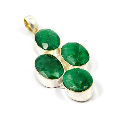 Dyed Emerald .925 Silver Plated Handmade Pendant Jewelry JC9006