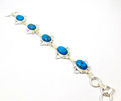 Copper Turquoise .925 Silver Plated Handmade Bracelet Jewelry KD507