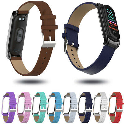 Wristband PU Leather Band Wrist Strap Metal Frame For Xiaomi Mi Band 4 3